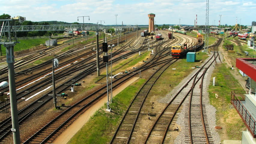 VILNIUS, LITHUANIA - JUNE 14: (Timelapse view) Modern electric trains and