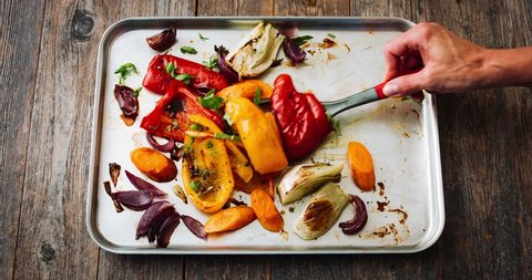 Ratatouille, roasted vegetables in tray