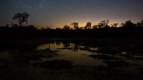 A slow tilt up timelapse of a dam/lake at night with the Milky Way and stars reflecting in the water in a typical African bushveld landscape with early morning fog rolling in at dawn. 4K