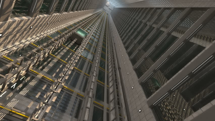 3d rendering. An open Elevator shaft at the business center