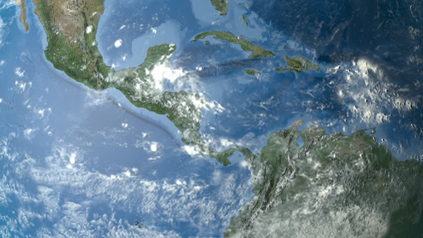 Night To Day Rotating Earth Zoom In On Haiti Outlined - Satellite image photo of el salvador