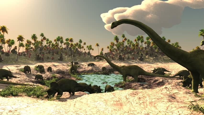 Dinosaurs Jurassic prehistoric scene