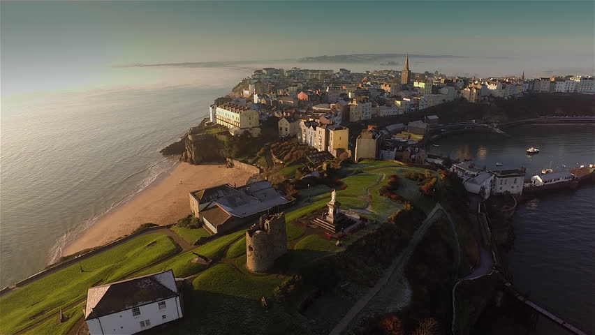 Aerial view of Tenby, Pembrokeshire, South Wales, early morning