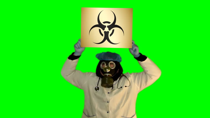 Chroma key anger persons in gas mask with board Bio hazard