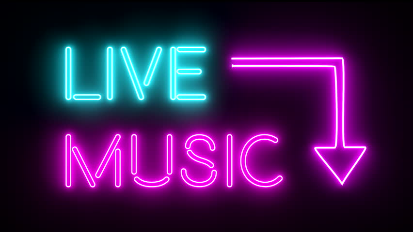 Live music neon sign lights logo text glowing multicolor 4K