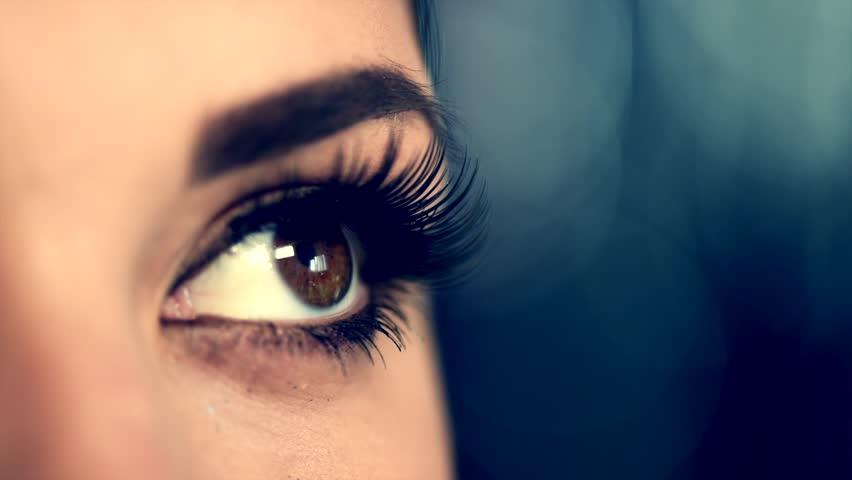 Beauty Woman Eye Makeup closeup. Beautiful Holiday Make-up for Brown Eyes. False eyelashes, Night Party