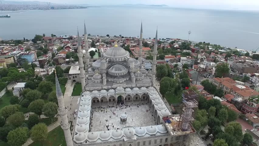 Aerial Footage of Sultanahmet (Blue Mosque) in Istanbul