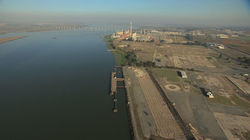 Aerial USA San Francisco ocean Bridge Antioch delta