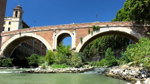 Bridge Pons Fabricius over Tiber River in Rome, Italy