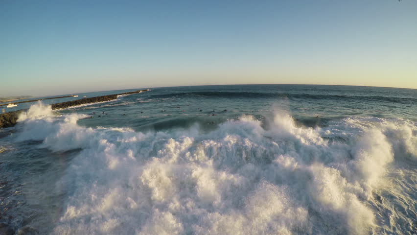 4K Aerial 'The Wedge' at Newport Beach. Huge wave crashes. Shot with GOPRO HERO 4 BLACK in 4K UHD.