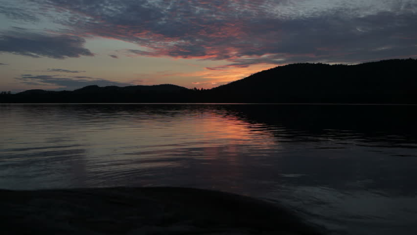 sunset on Lows Lake, Adirondack state park