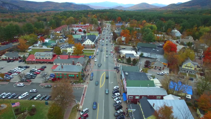 Aerial video of the town of Conway New Hampshire
