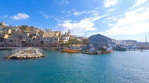 Jaffa - Old city and port pan left time lapse
