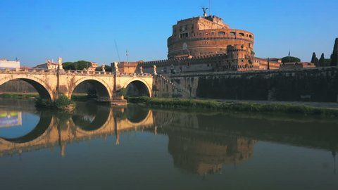 Aerial Castel Sant angelo fortress and bridge view in Rome, Italy.