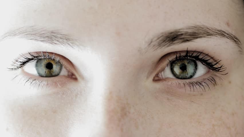 Close Up Of Beautiful Women Eyes. Looking At Camera Stock ...