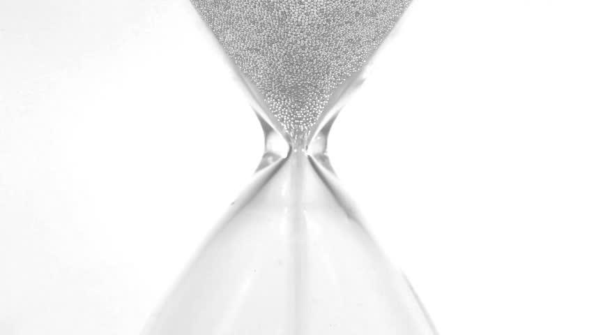 Hourglass closeup over white