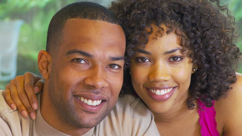 Portrait of African American couple kissing #1258255