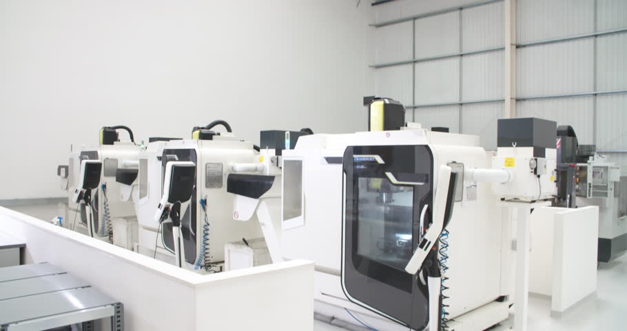 View Of Empty Engineering Workshop With CNC Machines | Shutterstock HD Video #12602138