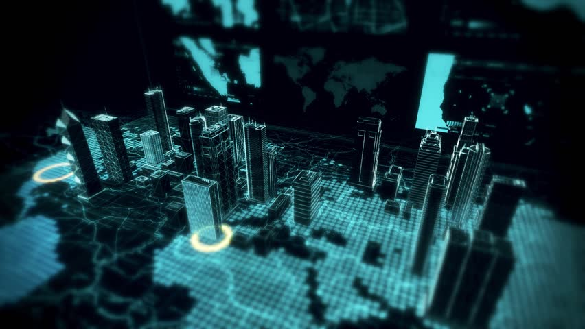 Security Breach Scan Over Holographic Cyber City Displayed