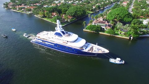 FORT LAUDERDALE - NOVEMBER 4: Aerial video of the Fort Lauderdale International Boat Show which is the worlds largest boat show held annually in the Intracoastal November 4, 2015  in Ft Lauderdale USA
