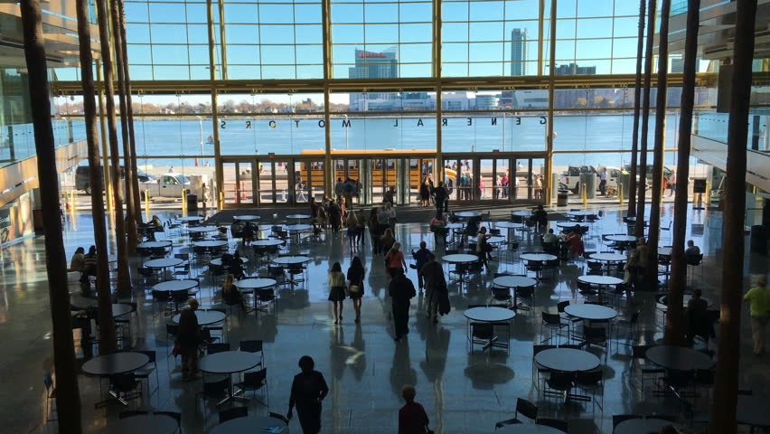 DETROIT, MICHIGAN/UNITED STATES – NOVEMBER 5, 2015: 4K UltraHD View from inside the RenaissanceCenter in [Detroit]. The Renaissance Center opened in 1997 and serves as General Motors headquarters.