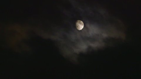 WS Clouds passing by moon at night - Canada, Ontario, Niagara Falls City
