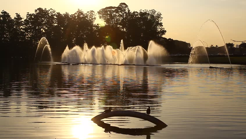 Fountains and birds during sunset in Park Ibirapuera Sao Paulo Brazil