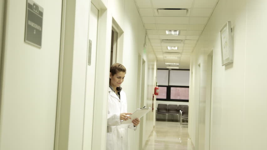 Doctor receiving the patient - HD stock footage clip