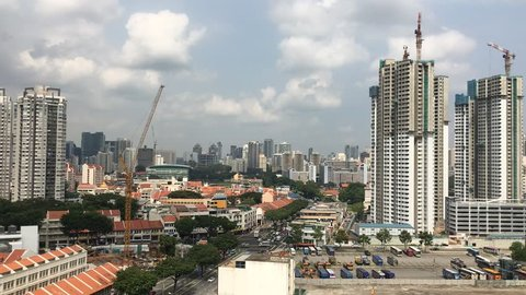 Timelapse elevated view over the district of Lavender & Jalan Besar of Singapore