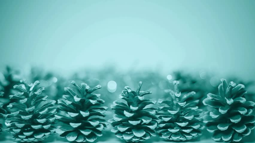 beautiful green christmas festive background with blurred lights and pine cones stock footage video 12834518 shutterstock - Blue And Green Christmas Lights