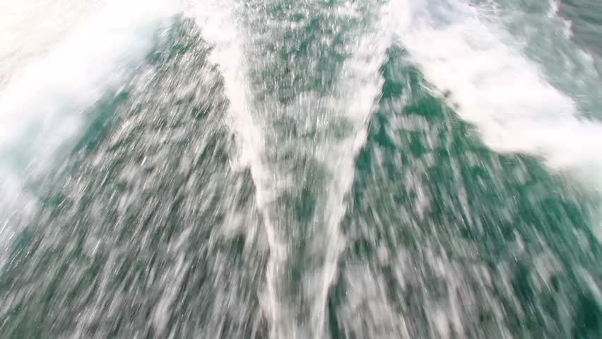 Wake behind the power boat