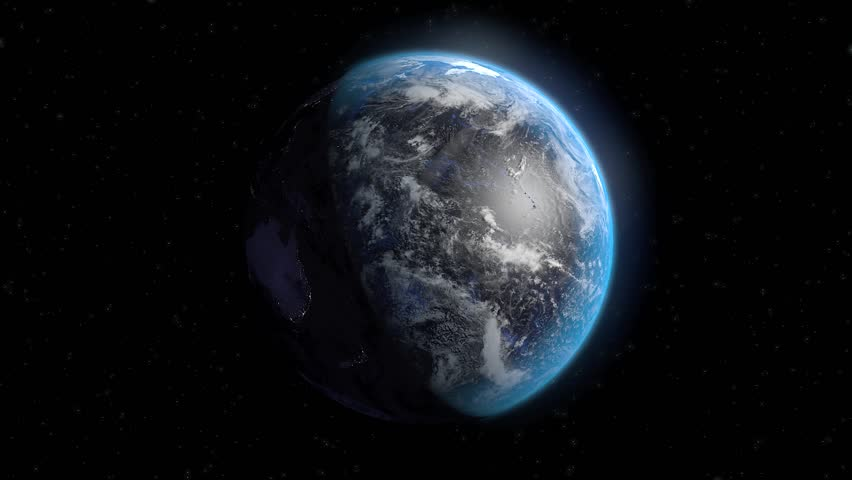 Realistic render of planet Earth rotating. Night view shows city lights