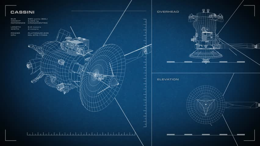 Looping, animated orthographic engineering blueprint of Cassini spacecraft. Displayed specs are accurate.