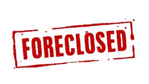 Red rubber stamp animation of the word foreclosed with white background, black background, and alpha channel.