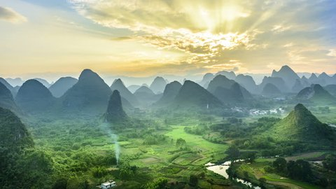 Landscape of Guilin at dusk, Li River and Karst mountains. Located near Yangshuo County, Guilin City, Guangxi Province, China.