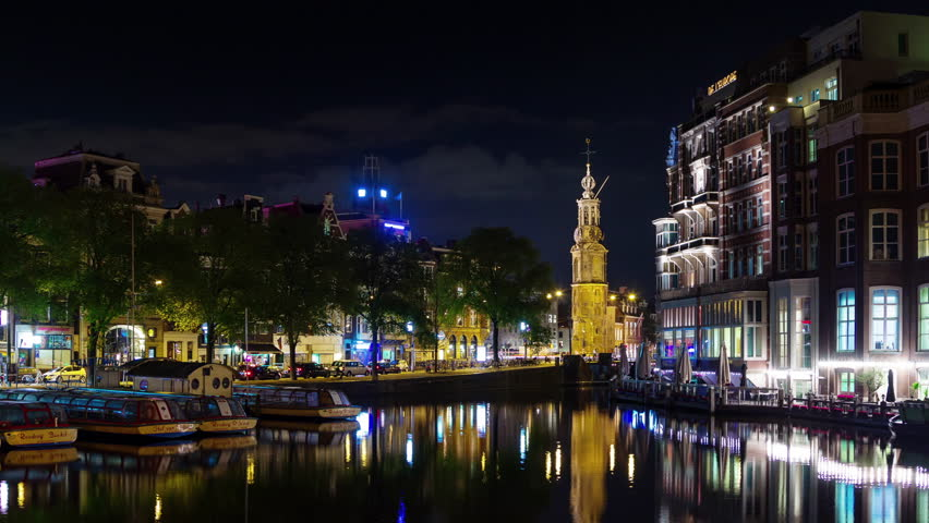 amstredam night illumination famous canal panorama 4k time lapse netherlands