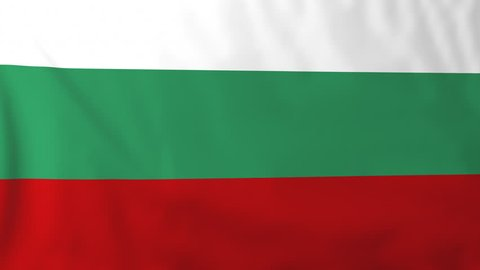 Flag of Bulgaria, slow motion waving. Rendered using official design and colors. Highly detailed fabric texture. Seamless loop in full 4K resolution. ProRes 422 codec.