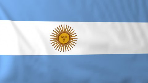 Flag of Argentina, slow motion waving. Rendered using official design and colors. Highly detailed fabric texture. Seamless loop in full 4K resolution. ProRes 422 codec.