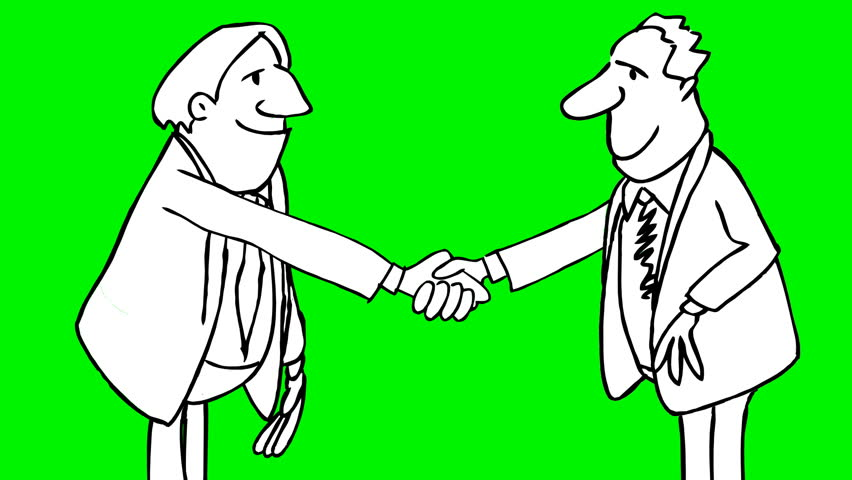 Hd00 14animation Of Two Men Shaking Hands With Alpha Matte