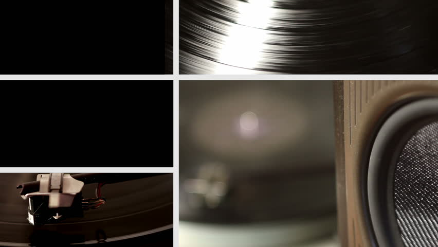 Vinyl record playing on turntable spit screen