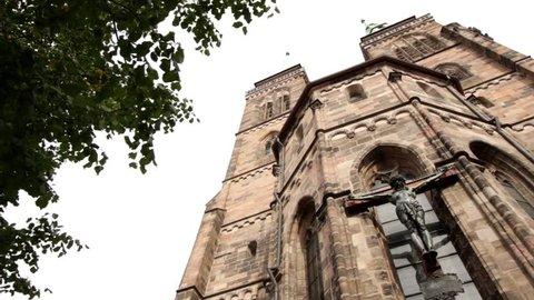 St Sebald church in Nuremberg. Low angle pan shot.