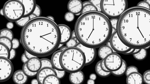 Many Clocks flying in Time-lapse in 3D animation. Time Concept Footage. HD 1080. Looped.