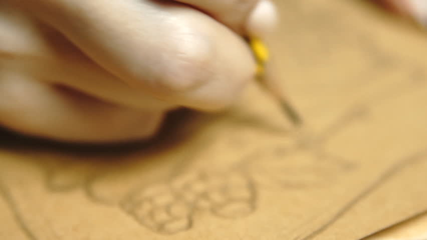 Lifestyle: hands of young beautiful girl freelance artist designer sketching and drawing food illustration on kraftpaper, working from home. Close-up shot, handheld, slow motion 60 fps, HD 1080p. | Shutterstock HD Video #13006838