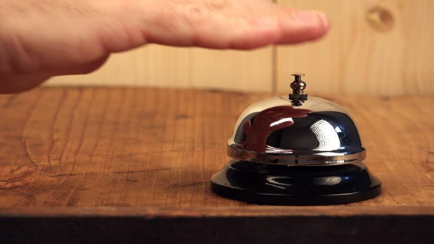 Awesome Man Ringing Hotel Reception Bell Stock Footage Video 100 Royalty Free 13021208 Shutterstock Home Interior And Landscaping Oversignezvosmurscom