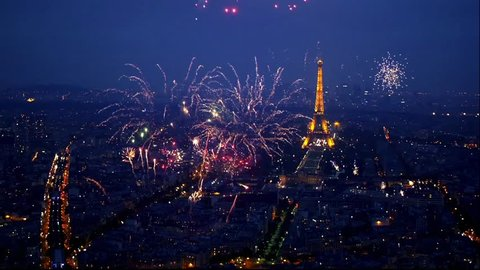 PARIS, FRANCE - OCTOBER 3, 2015 - Spectacular display of fireworks in Paris with the Eiffel tower in the background
