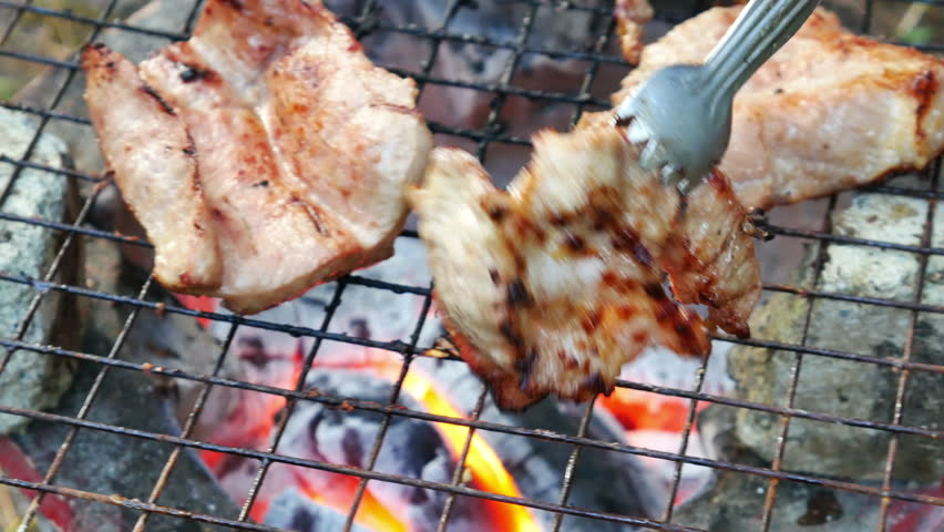 Bar-B-Q or BBQ with kebab cooking. coal grill | Shutterstock HD Video #13042448