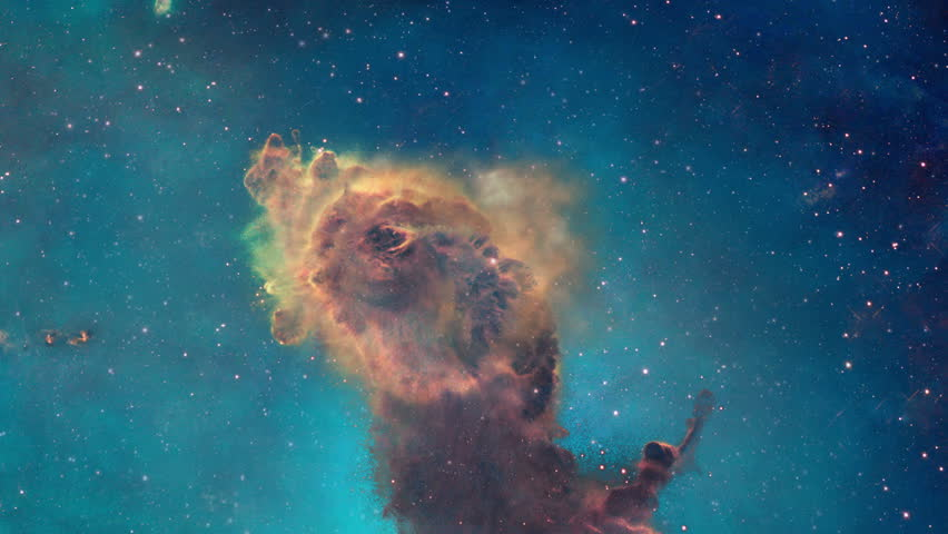 4K-UHD.  The viewer looks at a portion of the Carina nebula from different angles, pillars of gas and dust can be seen in 3 dimensions.  Original image used with permission from NASA's Hubble site.