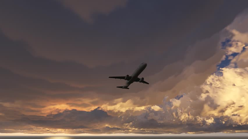 The plane is landing. Flying low over the ocean. Against the backdrop of a sunset and low clouds. 3d   Shutterstock HD Video #13110260