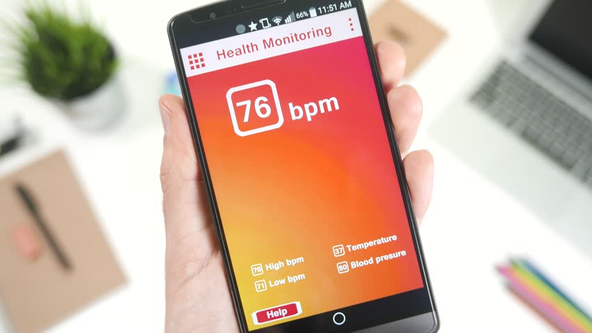 Checking Heart Rate Monitoring On Health App On The Smartphone - Height checking app