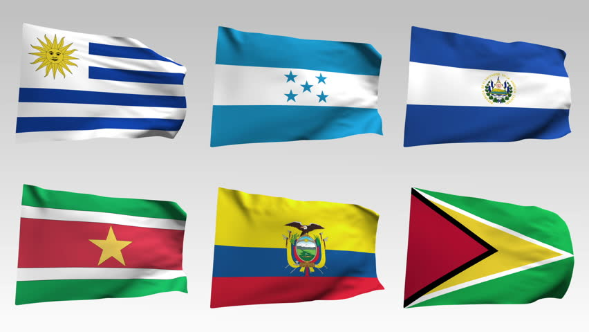 animated  flags from America collection with alpha channel, Uruguay, Honduras, Salvador, Suriname, Ecuador, Guyana
